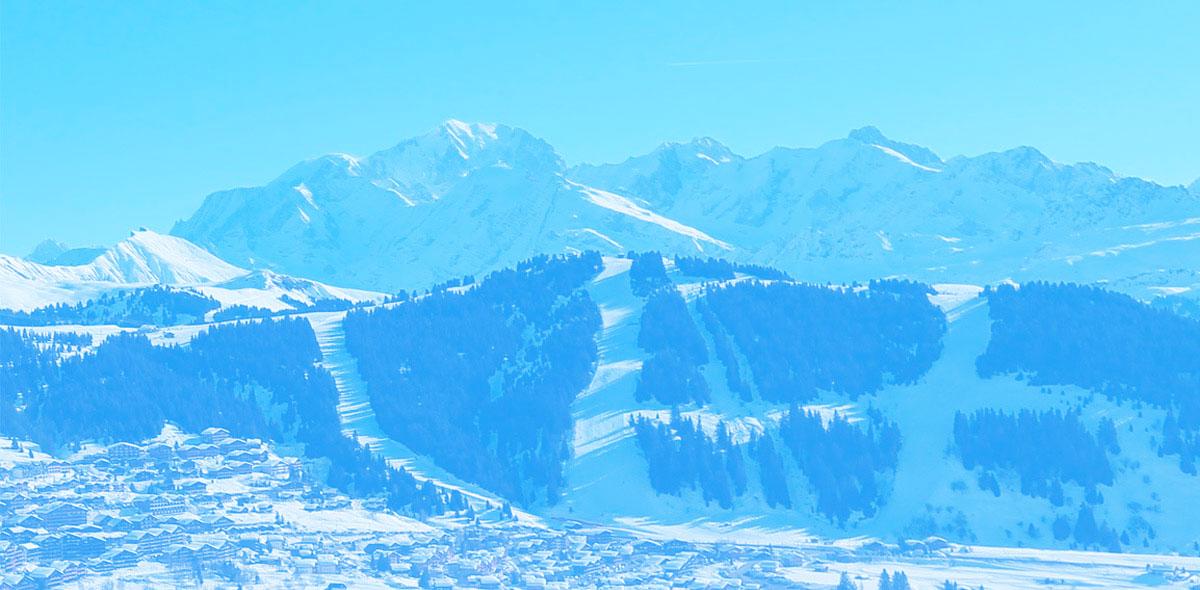 Appartement 6 - 8 personnes - meublé - en Location à Bisanne 1500 - Villard sur Doron dans les Alpes, vue sur le Mont-Blanc